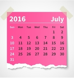 Calendar july 2016 colorful torn paper vector image vector image