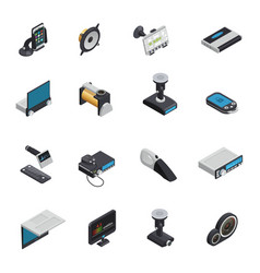 car electronics isometric icons vector image