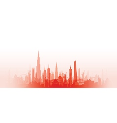 cityscape with fade red vector image vector image