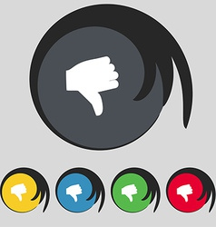 Dislike thumb down icon sign symbol on five vector