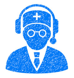 Doctor listen grunge icon vector