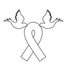 Emblem breast cancer ribbon with doves vector