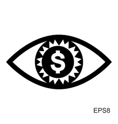 Eye with dollar icon greed or need money symbol vector