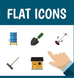 Flat icon dacha set of harrow trowel grass vector