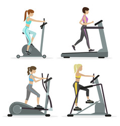 Girls with cardio equipments vector