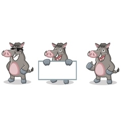 Gray Wild Pig Mascot happy vector image vector image