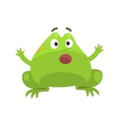 Green frog shocked funny character childish vector