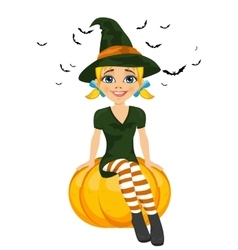 Halloween with a cute witch sitting on pumpkin vector image