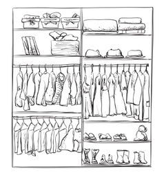 Hand drawn wardrobe sketch interior with clothes vector