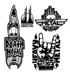 Heavy rock music badge vintage labels with vector