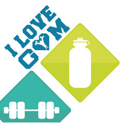 I love gym barbell water concept vector