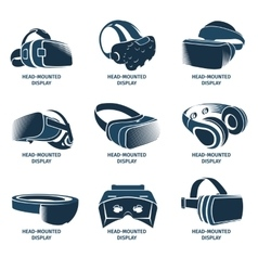Isolated vr headset logotype set virtual reality vector