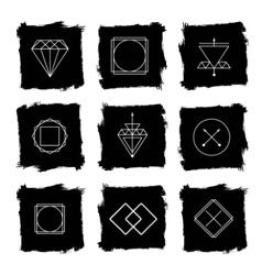 Line diamond wireframe shape design logos and vector