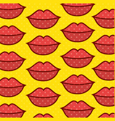lips pop art pattern vector image