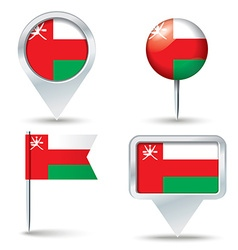 Map pins with flag of oman vector