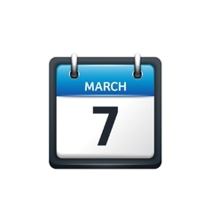March 7 calendar icon flat vector