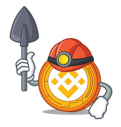 Miner binance coin mascot catoon vector