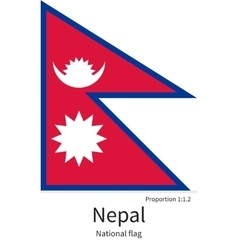 National flag of Nepal with correct proportions vector image