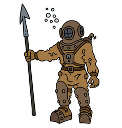 Old diver with a harpoon vector