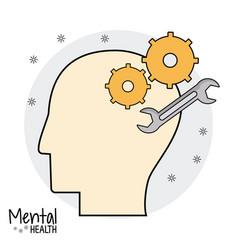 Profile head mental health vector
