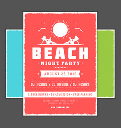 retro summer party design poster or flyer night vector image vector image