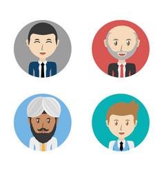 Set avatars men of different diversity inside vector