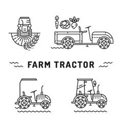 Set logos farm tractor line art style agriculture vector