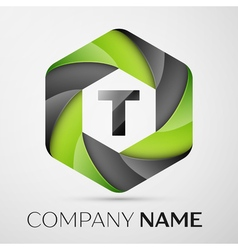 T letter colorful logo in the hexagonal on grey vector
