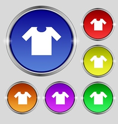 T-shirt icon sign round symbol on bright colourful vector