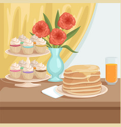 Tasty breakfast on wooden table plate with stack vector