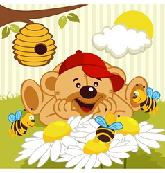 teddy bear watching bees on daisy vector image