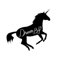 Unicorn silhouette with text vector