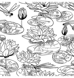 water lily and dragonfly vector image