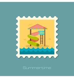 Water Park Summer Vacation Slide Beach stamp vector image