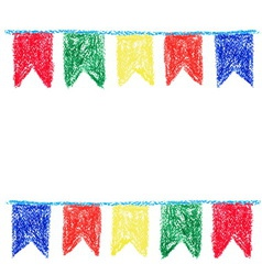 Wax crayon party bunting isolated on white vector image