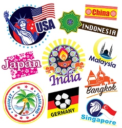 World country icon set vector image vector image