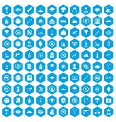 100 tension icons set blue vector