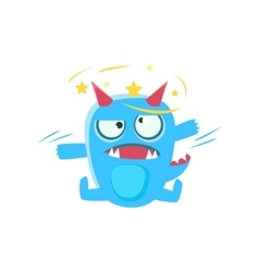 Blue monster with horns and spiky tail stars vector