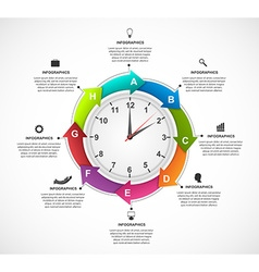 Design infographics clock with arrows in a circle vector