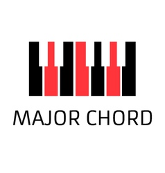 Minimalistic piano keyboard logo with major chord vector