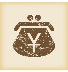 Grungy yen purse icon vector