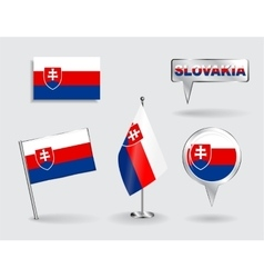 Set of slovak pin icon and map pointer flags vector