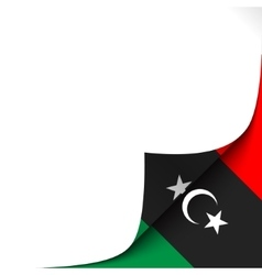 Curled paper corner with libya flag background vector