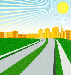 city in a sunny day vector image