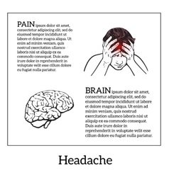 Concept headache brain sketch vector image