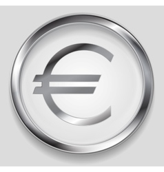 Concept metallic euro symbol logo button vector