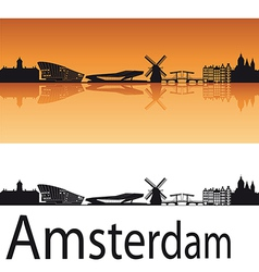 Amsterdam skyline in orange background vector image vector image