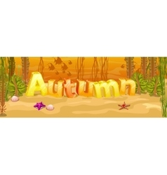 Autumn banner with three-dimensional letters vector