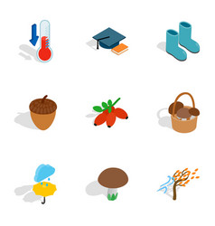 Autumn season icons isometric 3d style vector