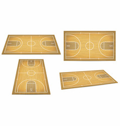 basketball court with wooden floor view from vector image vector image